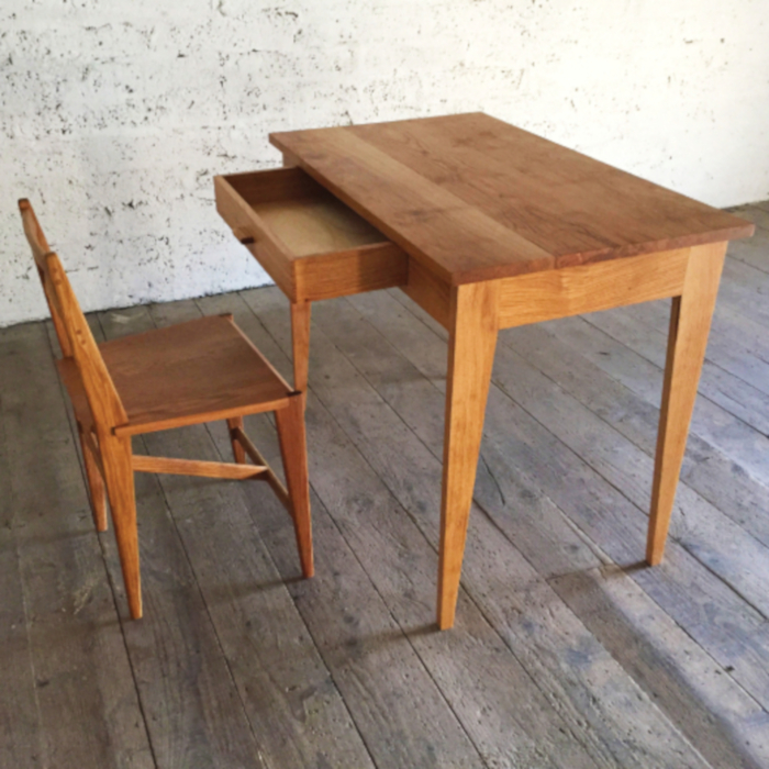 Irish Oak Writing Desk and Chair designed & created by Eric Philips