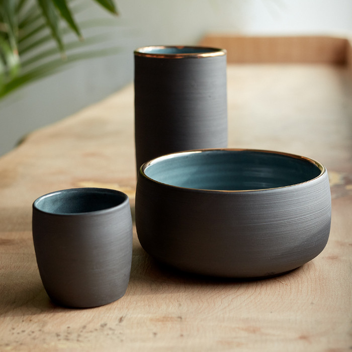 Black stoneware vase, bowl and espresso cup designed and created by Aisling McElwain