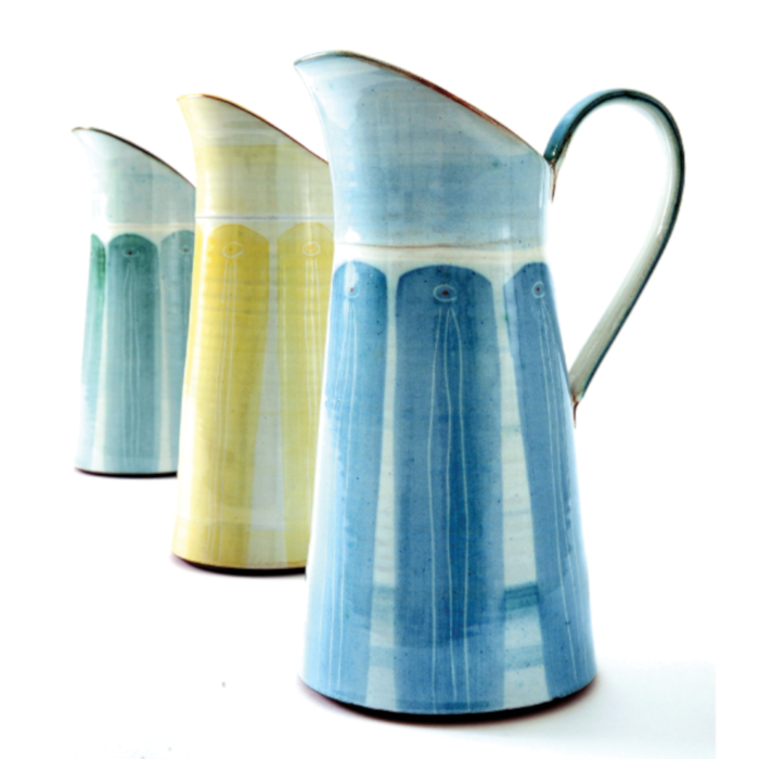 Tall Dairy Jugs in Green, Yellow or Blue designed & created by Caroline Dolan