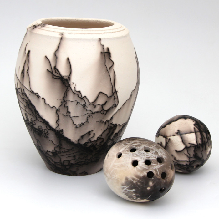 Horsehair Embellished Vessel & Globe Forms designed & created by Claire Molloy