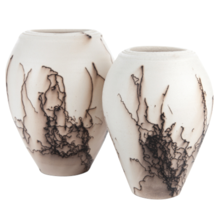 Horsehair Embellished Vessels designed & created by Claire Molloy