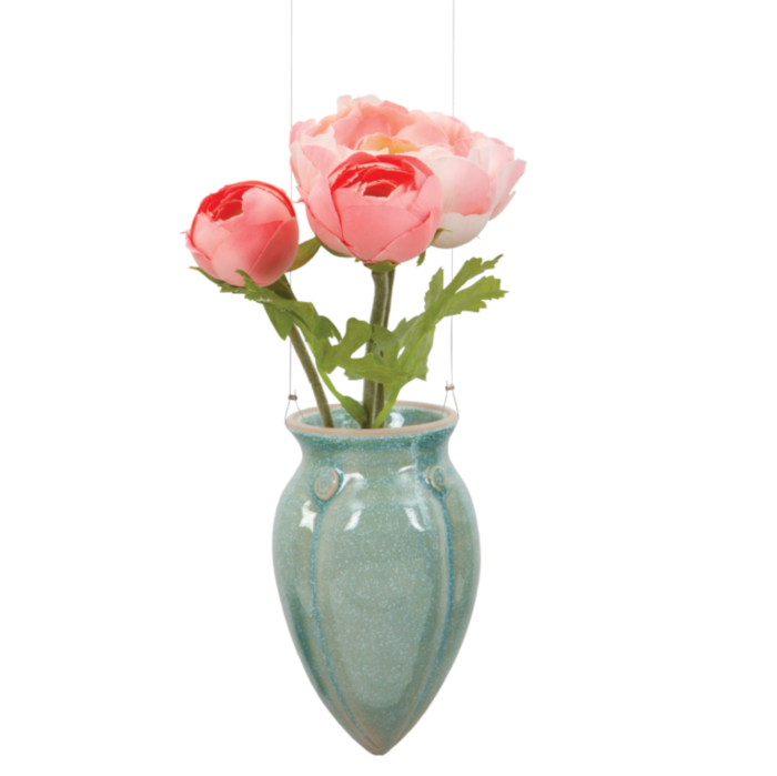 Green Ceramic Hanging Vase designed & created by Klaus Hartmann