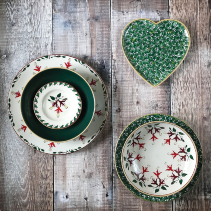 Medium Heart Plate Green Lawn & Fuchsia Plate Set designed & created by Nicholas Mosse